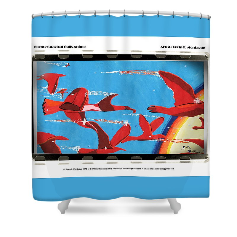 Seagulls Shower Curtain featuring the painting Flight Of Magical Gulls Anime by Kevin Montague