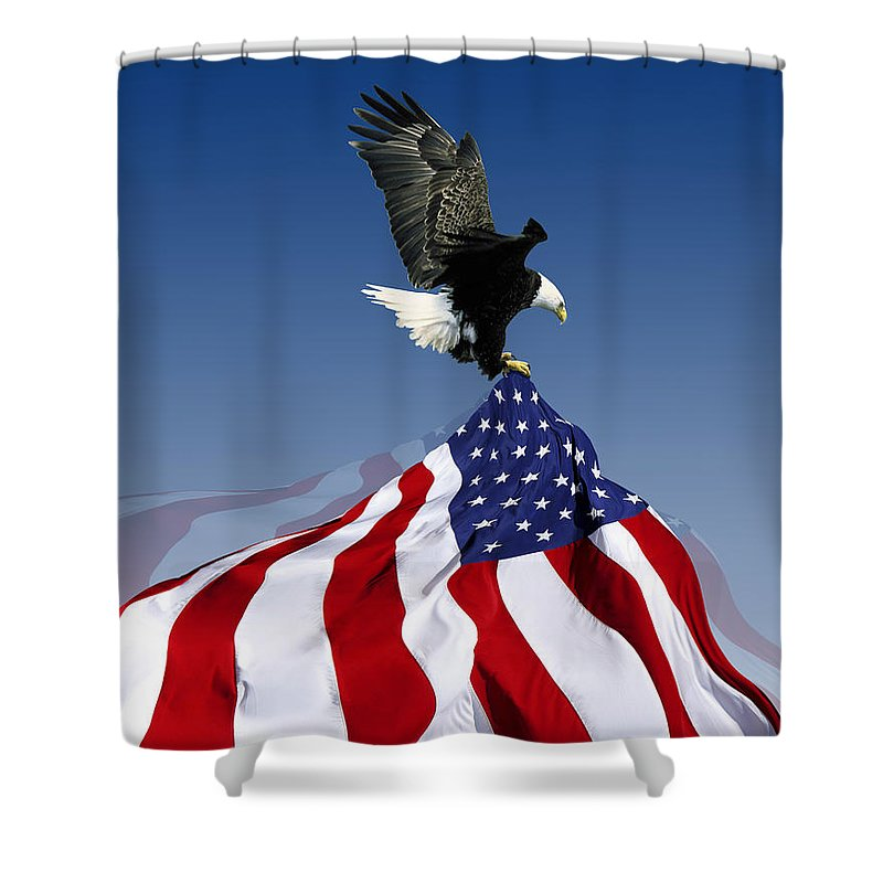 American Shower Curtain featuring the mixed media Flight To Freedom by Filippo B
