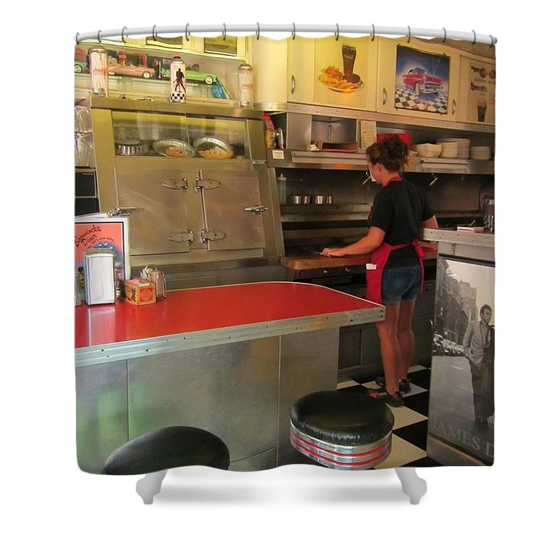 Diner Interior Photographs Shower Curtain featuring the photograph Flippin Burgers In The Diner by John Malone