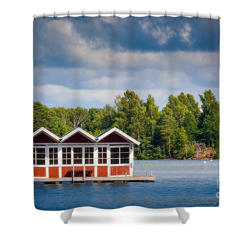 Europa Shower Curtain featuring the photograph Floating Shacks by Inge Johnsson