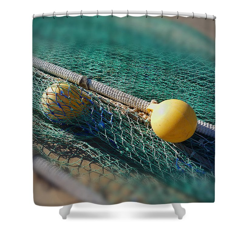 Fishing Nets Shower Curtain featuring the digital art Floats Nets by Charles Stuart