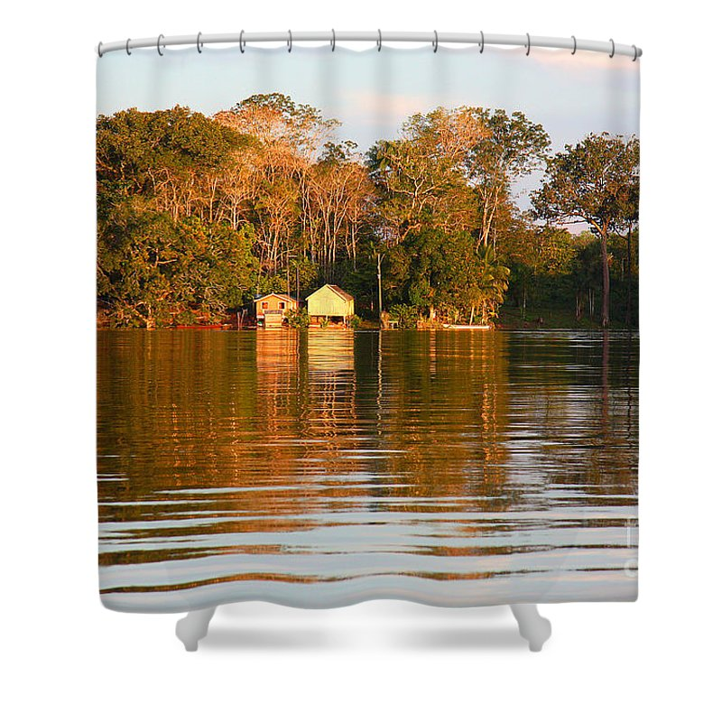River Shower Curtain featuring the photograph Flooded Amazon With Houses by Nareeta Martin