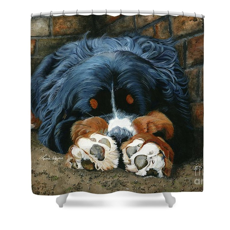 Bernese Shower Curtain featuring the painting Flop Those Lips Fast Asleep Extra Ventilation by Liane Weyers