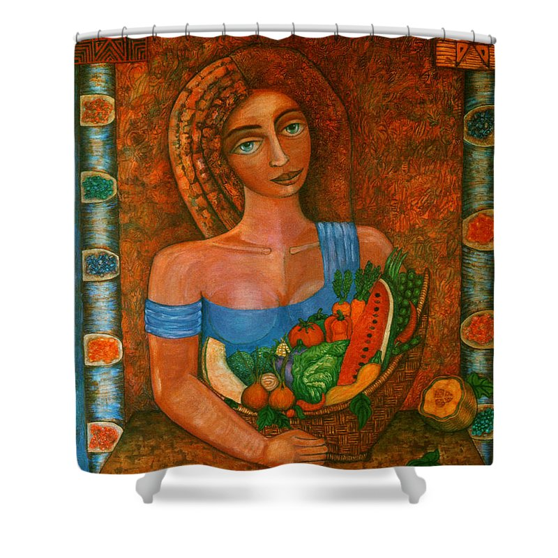 Acrylic Shower Curtain featuring the painting Flora - Goddess Of The Seeds by Madalena Lobao-Tello