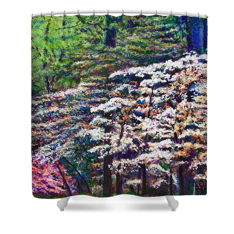 Landscape Shower Curtain featuring the painting Floral Cathedral by Michael Durst