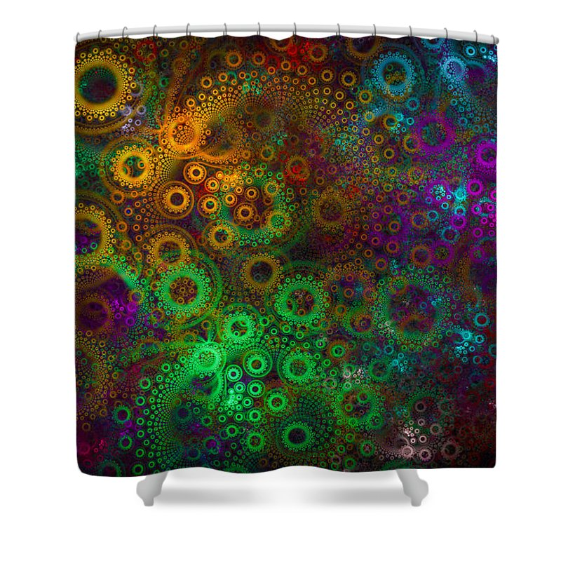 Green Shower Curtain Featuring The Digital Art Floral Gear Wheels Abstract Fractal Orange Purple