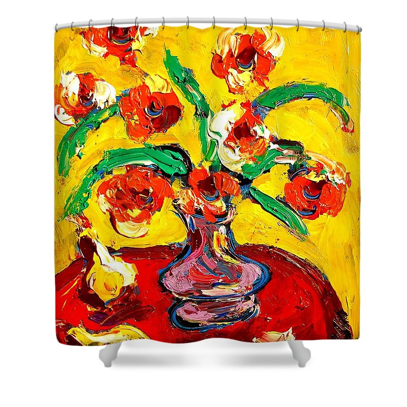 Shower Curtain featuring the painting Floral Still Life by Mark Kazav