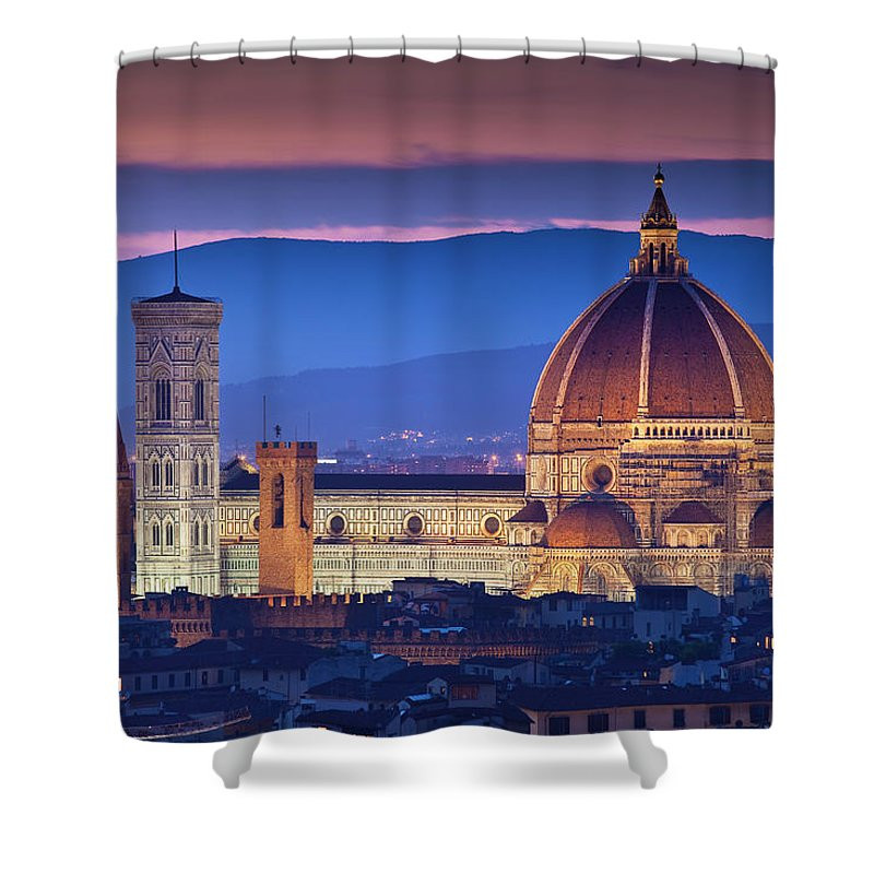 Built Structure Shower Curtain featuring the photograph Florence Catherdral Duomo And City From by Richard I'anson