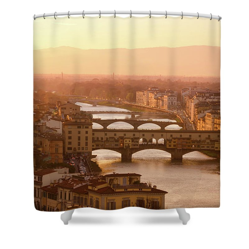 Campanile Shower Curtain featuring the photograph Florence City During Golden Sunset by Dragos Cosmin Photos