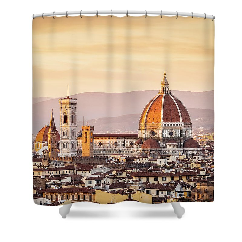 Campanile Shower Curtain featuring the photograph Florences Cathedral And Skyline At by Filippobacci