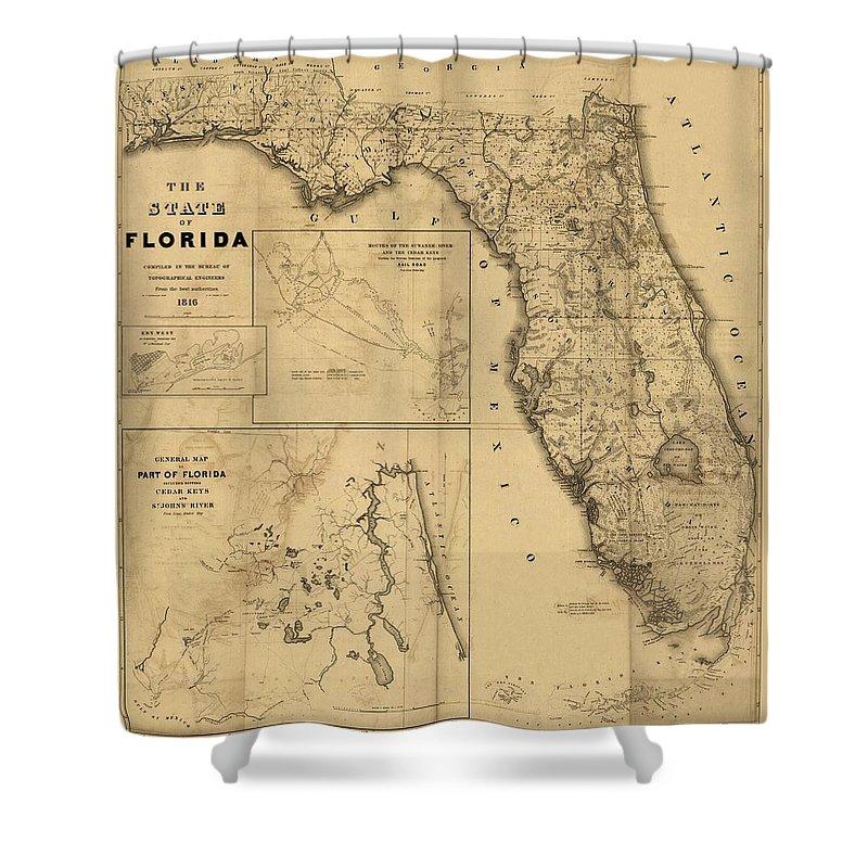 Antique Map Of Florida.Florida Map Art Vintage Antique Map Of Florida Shower Curtain For