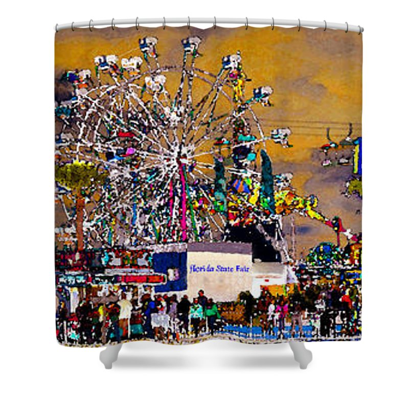 Panorama Artwork Shower Curtain Featuring The Painting Florida State Fair By David Lee Thompson