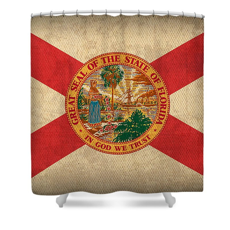 Florida State Flag Art On Worn Canvas Shower Curtain Featuring The Mixed Media
