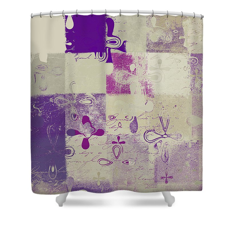 Abbstract Floral Digital Art Digital Art Shower Curtain featuring the digital art Florus Pokus 02d by Variance Collections