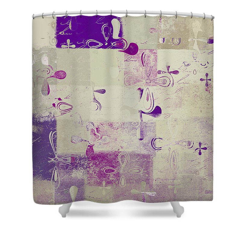 Abbstract Floral Digital Art Shower Curtain featuring the digital art Florus Pokus A01d by Variance Collections