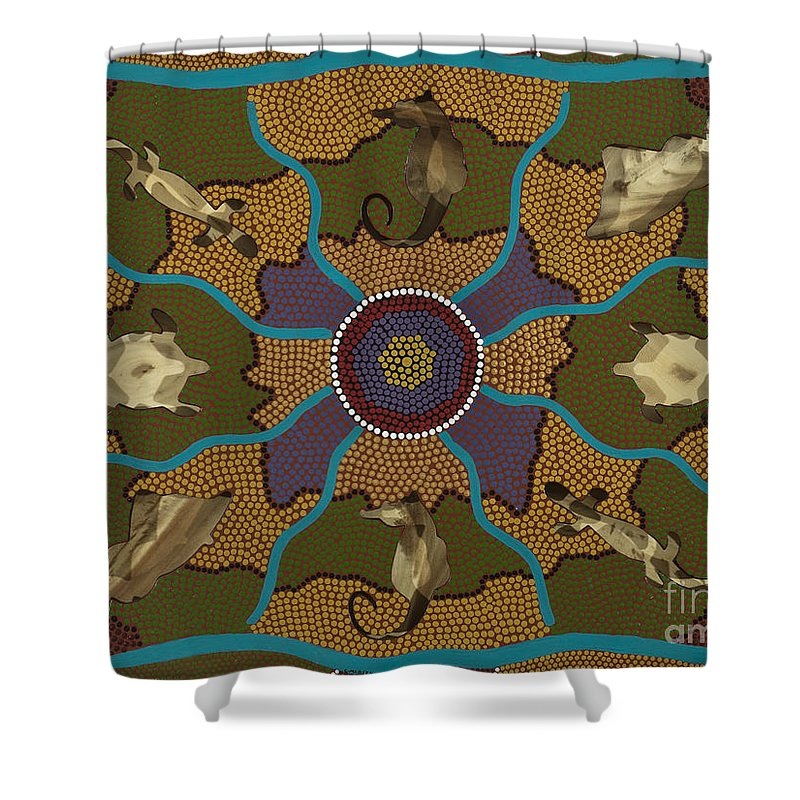 Aboriginal Shower Curtain featuring the painting Flow Of Life by Clifford Madsen