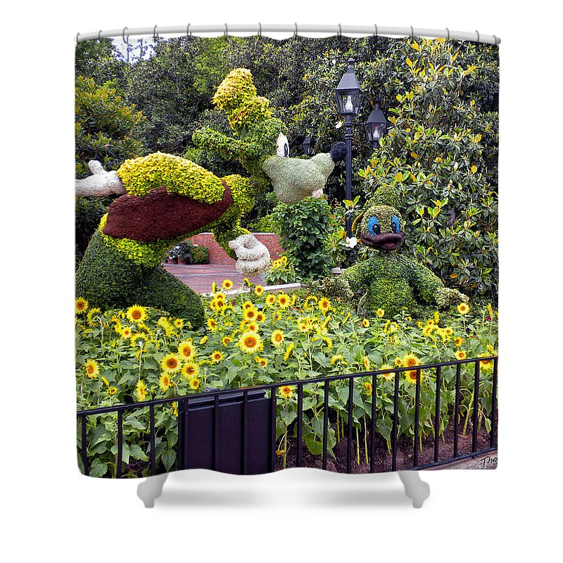 Flower And Garden Shower Curtain featuring the photograph Flower And Garden Signage Walt Disney World by Thomas Woolworth