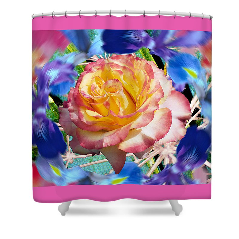 Flowers Shower Curtain featuring the digital art Flower Dance 2 by Lisa Yount
