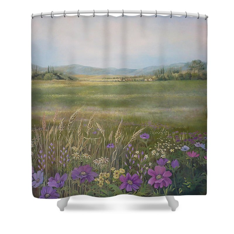 Landscape Shower Curtain featuring the painting Flower Field by Caroline Philp