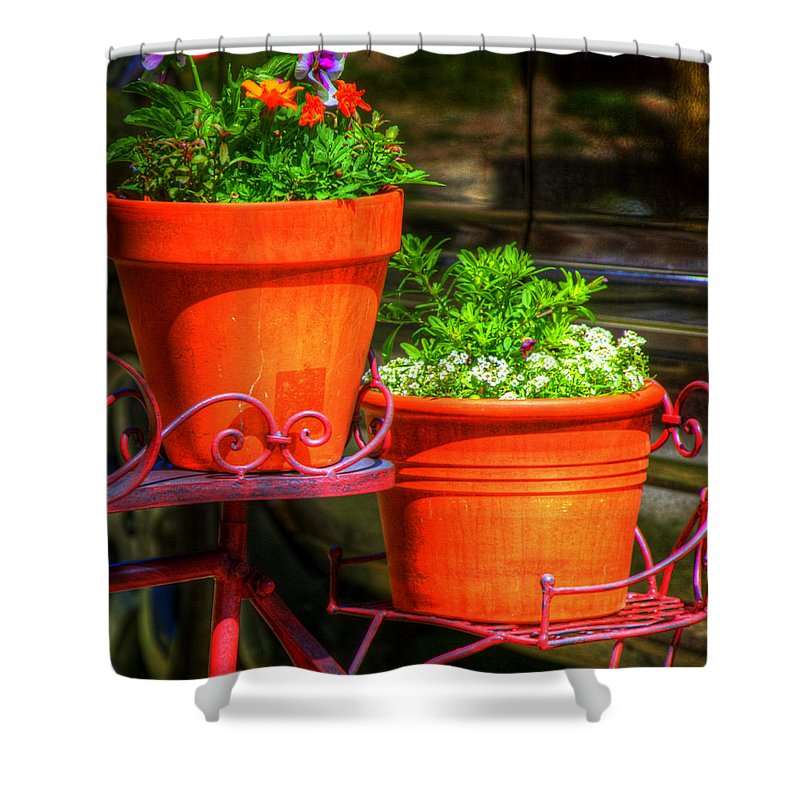 Pots Shower Curtain featuring the photograph Flower Pots 6103 by Jerry Sodorff