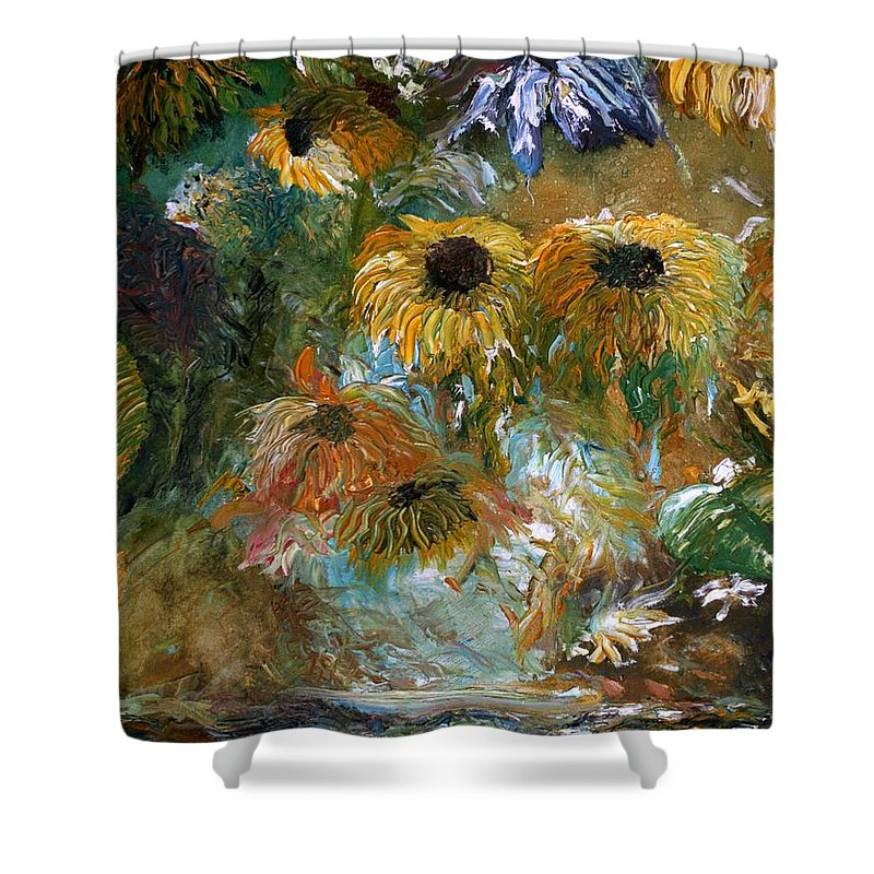 Flowers Shower Curtain featuring the painting Flower Rain by Jack Diamond