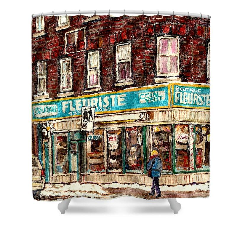 Boutique Fleurist Coin Vert Shower Curtain featuring the painting Flower Shop Rue Notre Dame Street Coin Vert Fleuriste Boutique Montreal Winter Stroll Scene by Carole Spandau