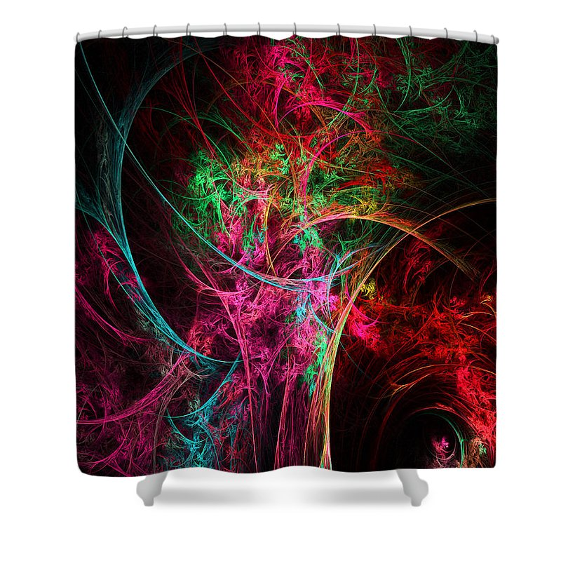 Flower In A Vase Abstract Shower Curtain featuring the digital art Flowerful Vase by Lourry Legarde