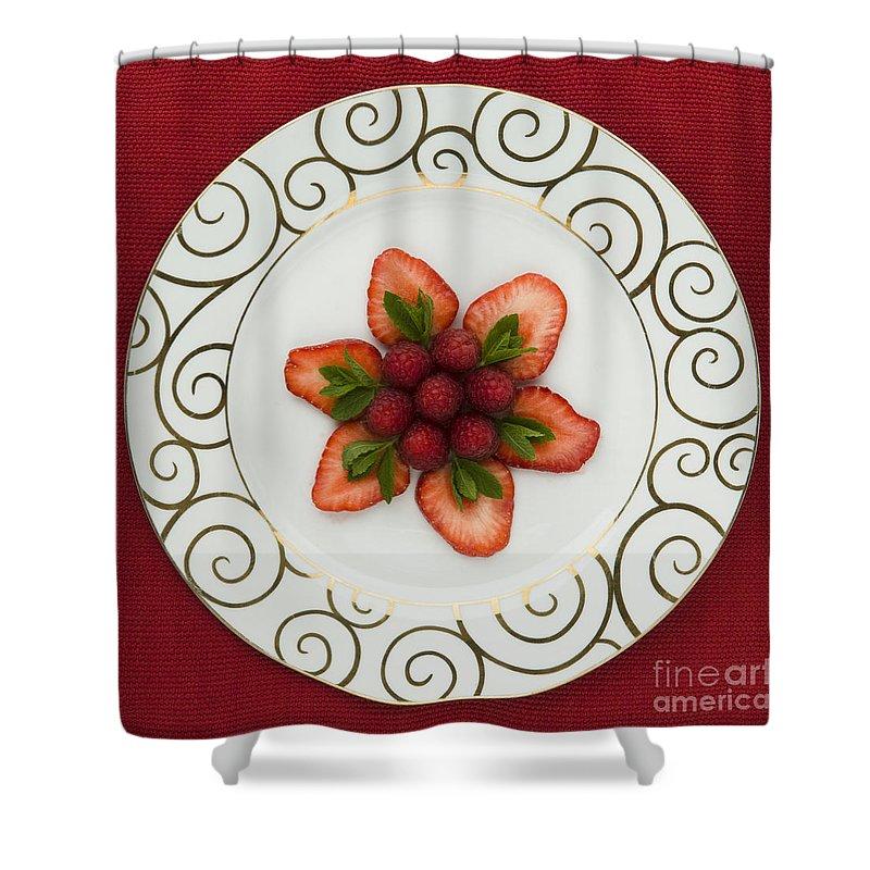 Arrangement Shower Curtain featuring the photograph Flowering Fruits by Anne Gilbert