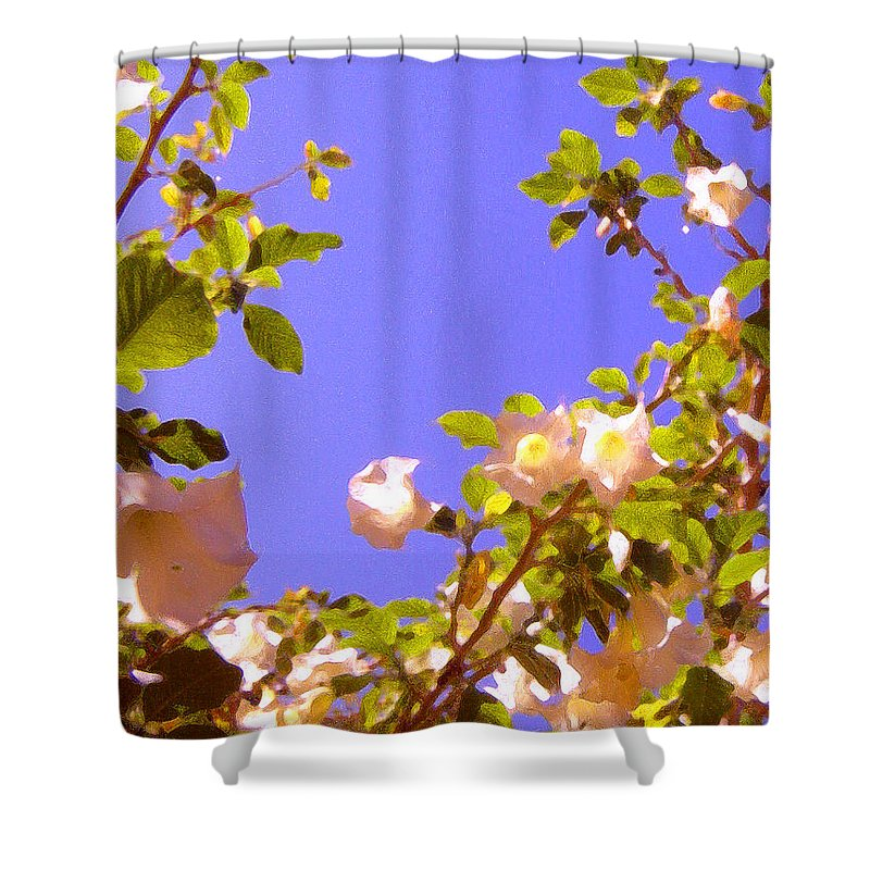 Landscapes Shower Curtain featuring the painting Flowering Tree 2 by Amy Vangsgard