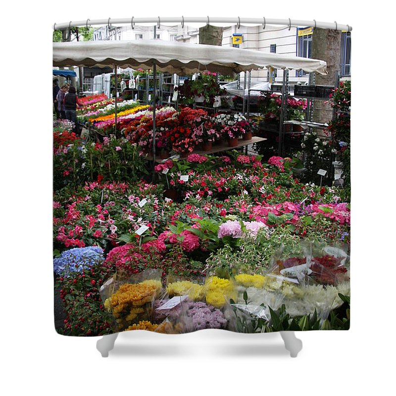 Flowermarket Shower Curtain featuring the photograph Flowermarket - Tours by Christiane Schulze Art And Photography