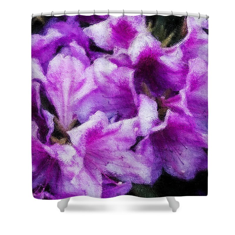 Flowers Shower Curtain featuring the digital art Flowers 2078 Lux by David Lange