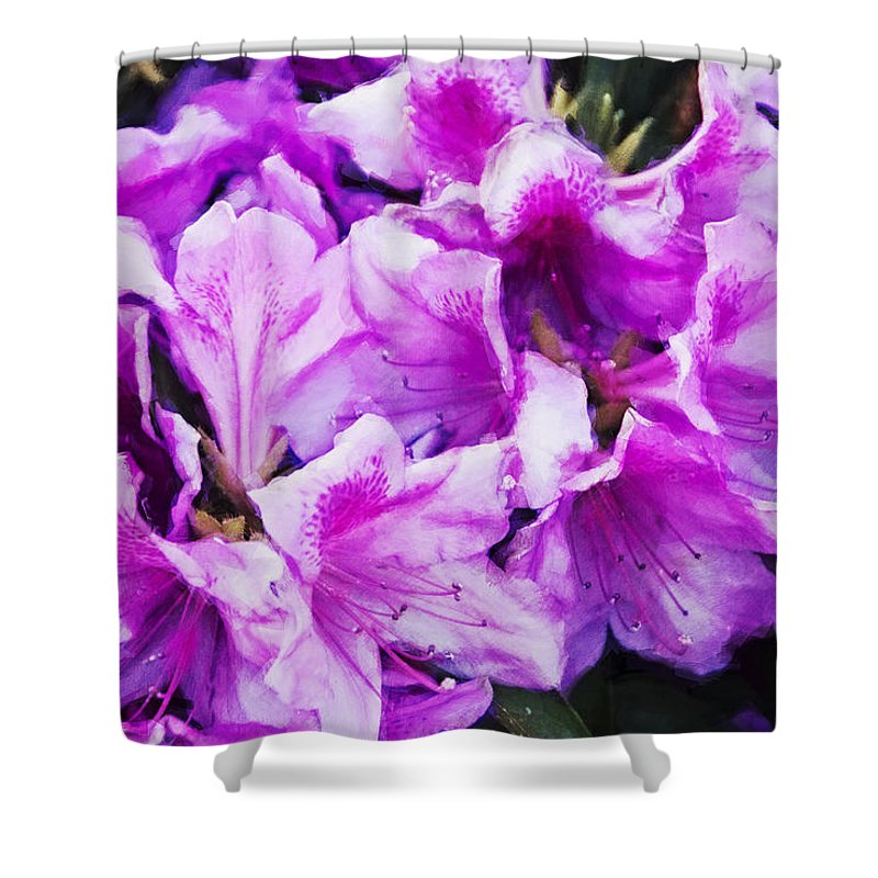 Flowers Shower Curtain featuring the digital art Flowers 2078 Neo by David Lange