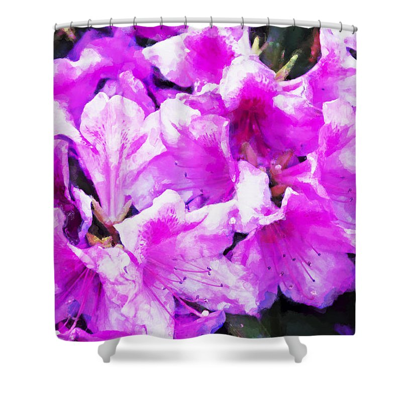 Flowers Shower Curtain featuring the digital art Flowers 2078 Oil Hp by David Lange