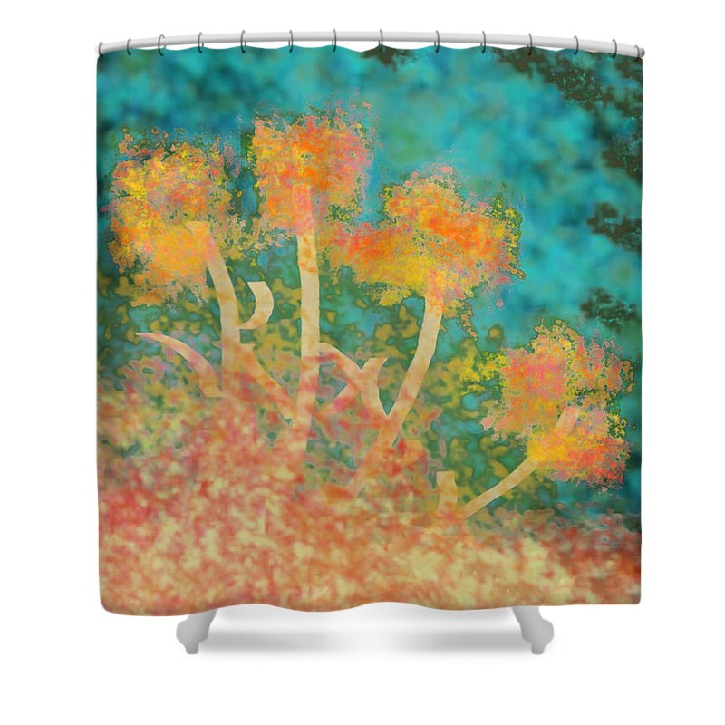 Digital Painting Shower Curtain featuring the digital art Flowers 3 by John Vincent Palozzi