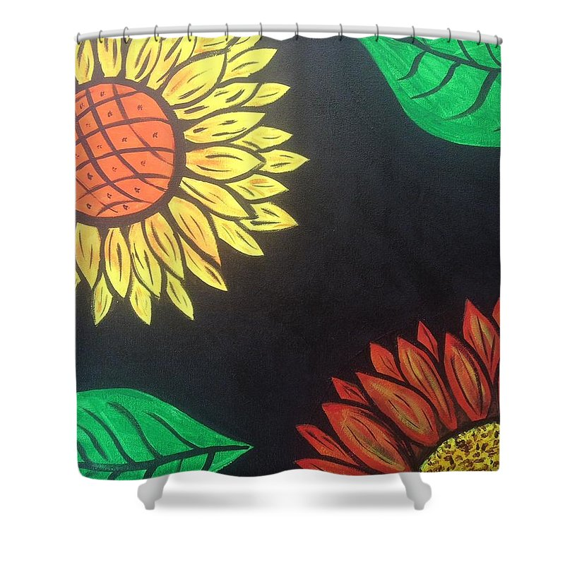 Flowers Shower Curtain featuring the painting Flowers by Deborah Mattas