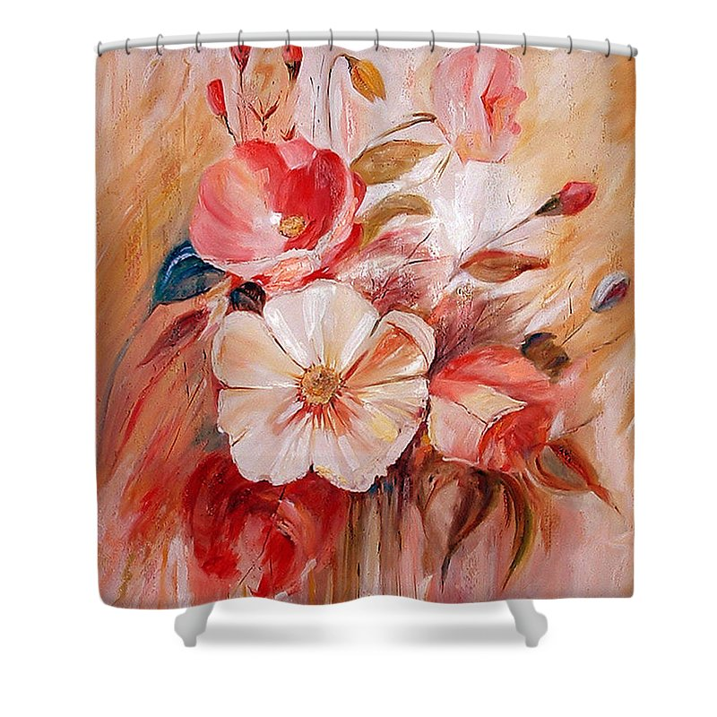 Abstract Shower Curtain featuring the painting Flowers I by Silvana Abel