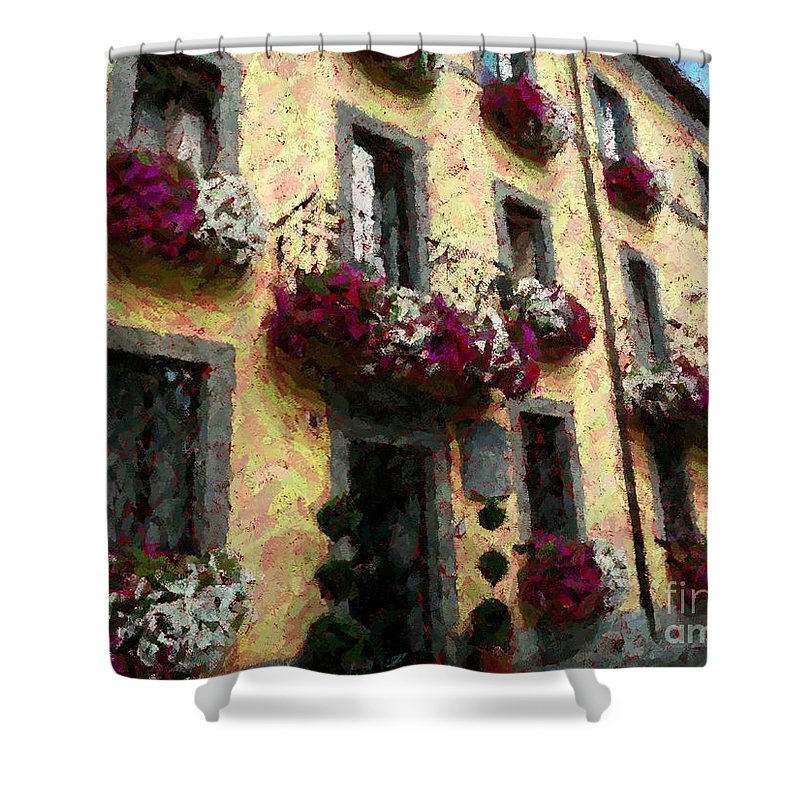 Flowers Shower Curtain featuring the photograph Flowers In Lazio by Barbie Corbett-Newmin