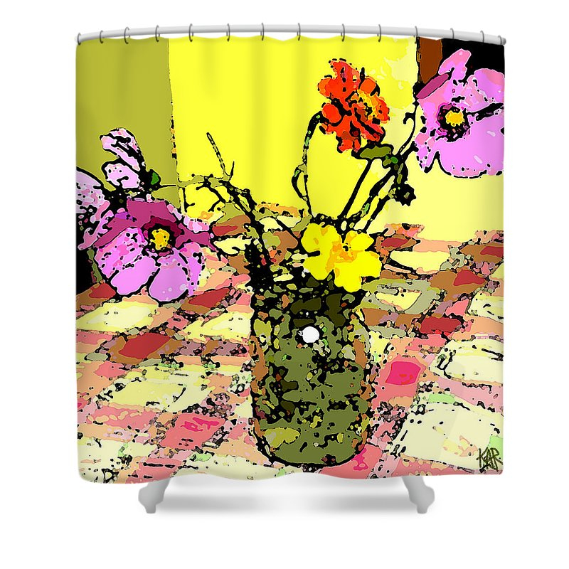 Flowers Shower Curtain featuring the painting Flowers Of Love by Art by Kar