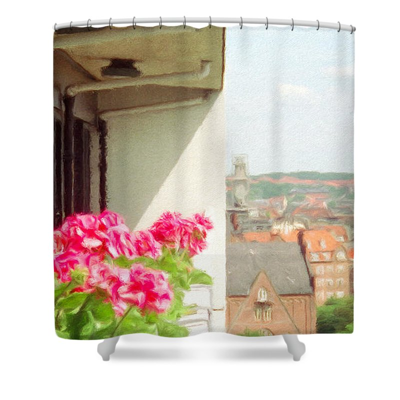 Aarhus Shower Curtain featuring the painting Flowers On The Balcony by Jeffrey Kolker
