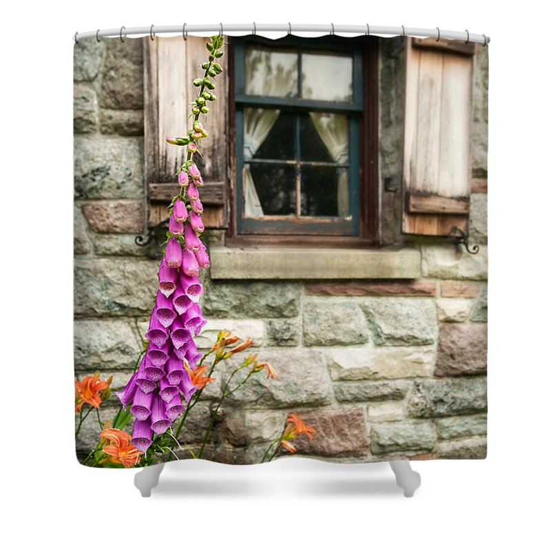 Flowers Shower Curtain featuring the photograph Flowers Stone And Old Country Window by Gary Heller