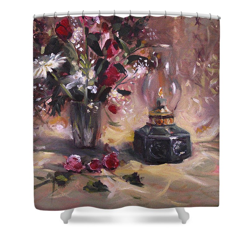 Flowers Shower Curtain featuring the painting Flowers With Lantern by Nancy Griswold