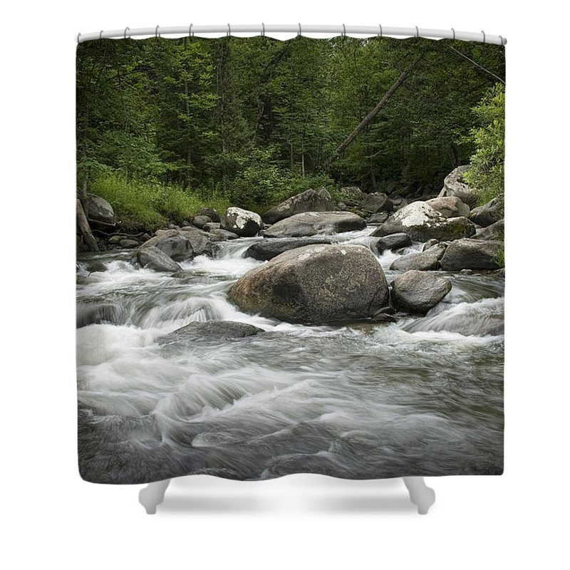 Art Shower Curtain featuring the photograph Flowing Stream In Vermont by Randall Nyhof