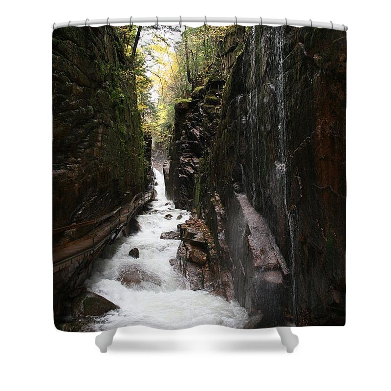 Franconia Notch Shower Curtain featuring the photograph Flume Gorge Franconia Notch by Christiane Schulze Art And Photography