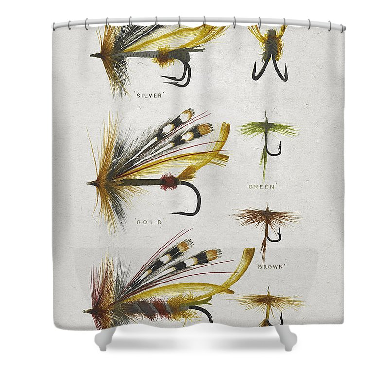 Fly Fishing Shower Curtain Featuring The Digital Art Flies By Aged Pixel