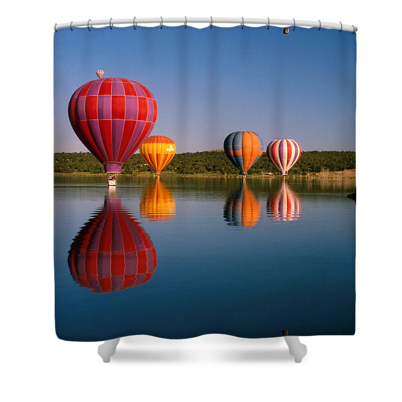 Hot Air Balloon Shower Curtain featuring the photograph Fly New Mexico by Jerry McElroy