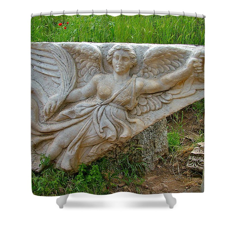 Flying Angel In Ephesus Shower Curtain featuring the photograph Flying Angel In Ephesus-turkey by Ruth Hager