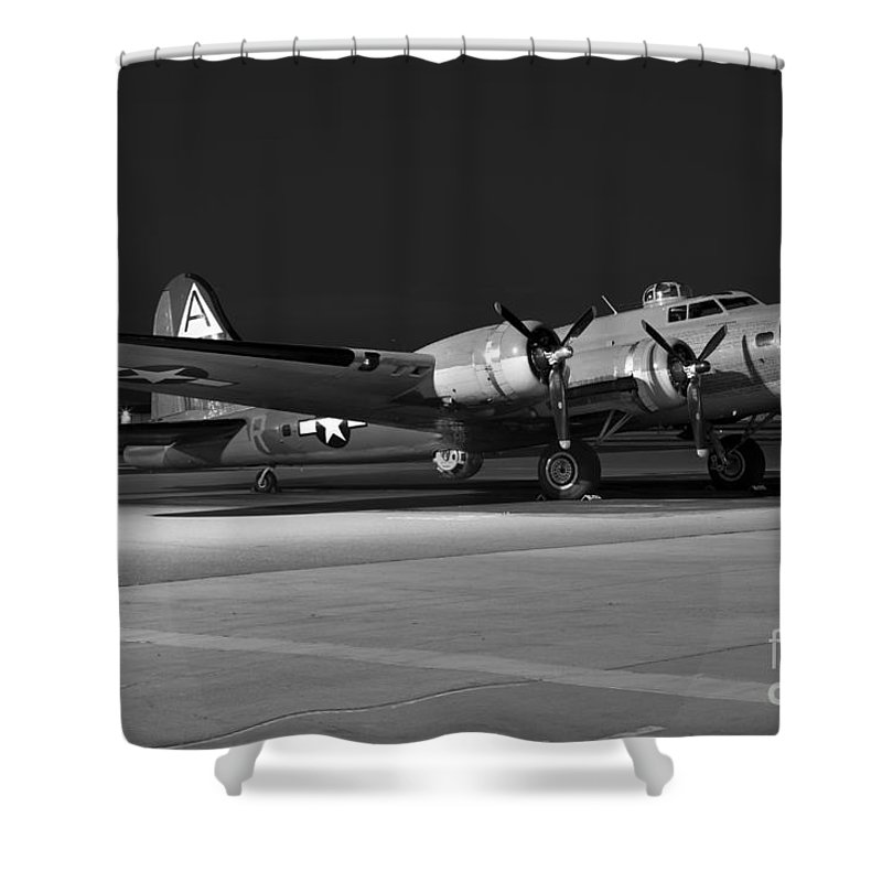 Collings Foundation Shower Curtain featuring the photograph Flying Fortress On The Ramp by Rick Pisio
