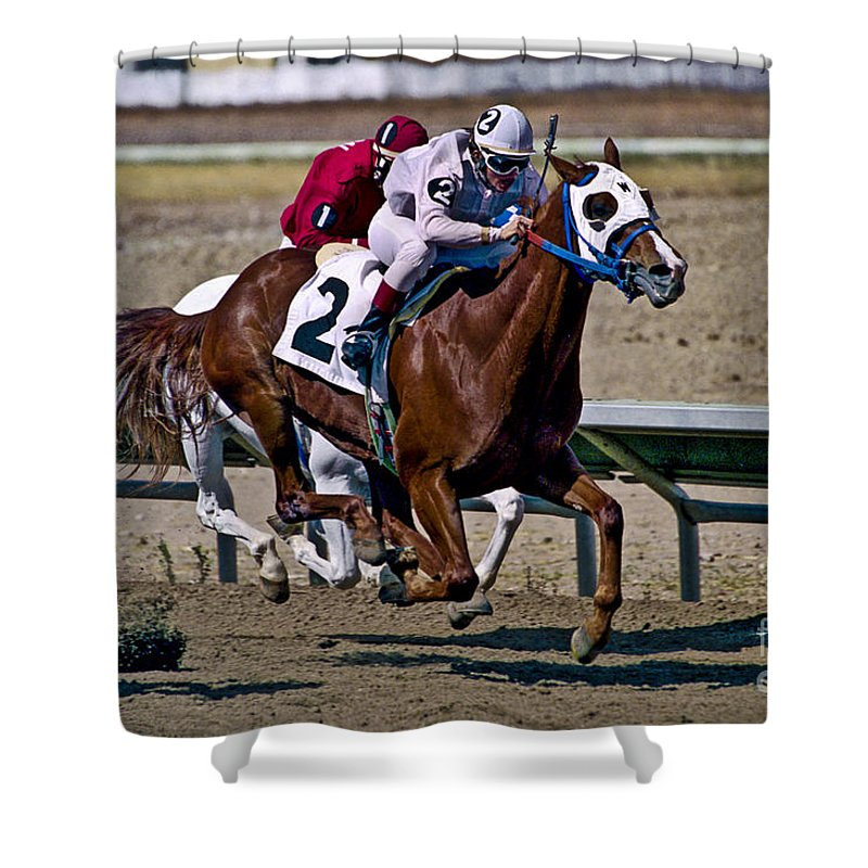 Racing Shower Curtain featuring the photograph Flying Hooves by Kathy McClure