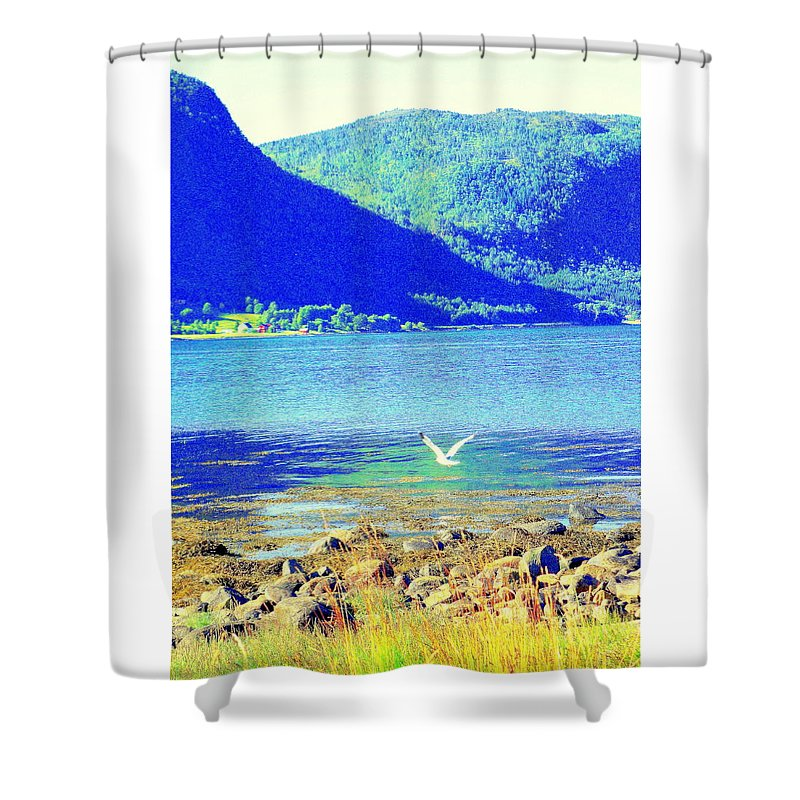 Landscape Shower Curtain featuring the photograph Seagull Flying Low, Mountains Standing Tall by Hilde Widerberg