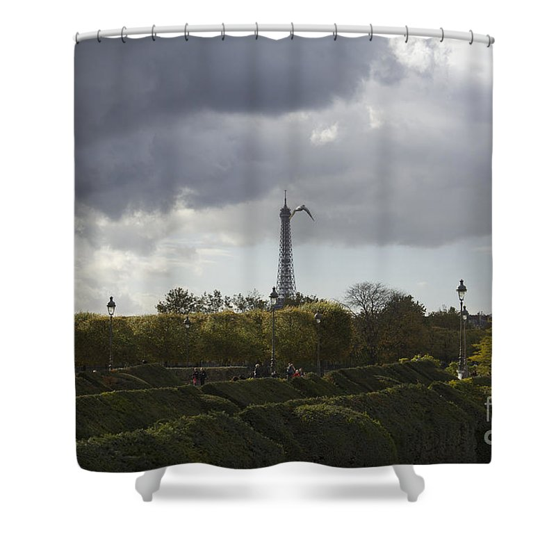 Tuileries Garden Shower Curtain featuring the photograph Flying Over The Tuileries by Donato Iannuzzi